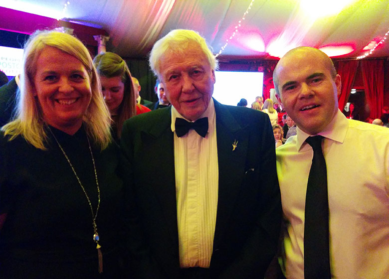 Alison Todd, David Attenborough and Paul Mc Keown