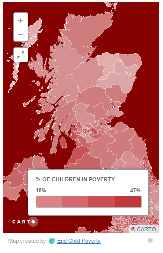 Map of child poverty in Scotland